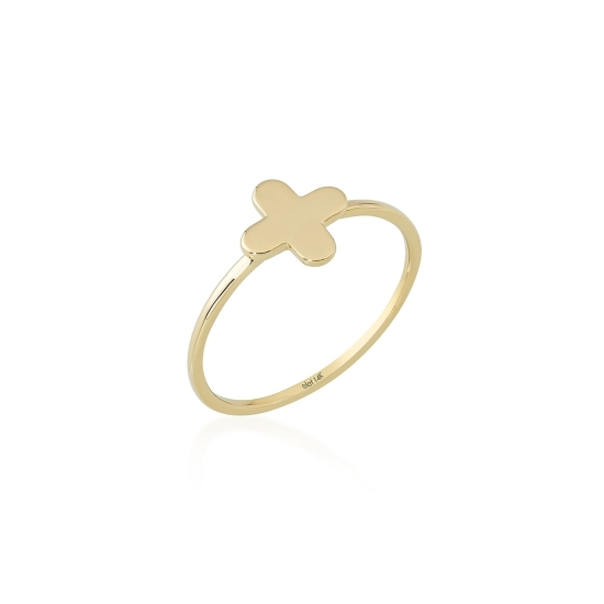 Elef Takı - Çiçek Figürlü 14 Ayar Altın Şans Yüzüğü (1)
