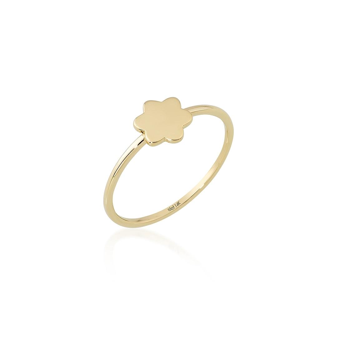 Çiçek Figürlü 14 Ayar Altın Şans Yüzüğü