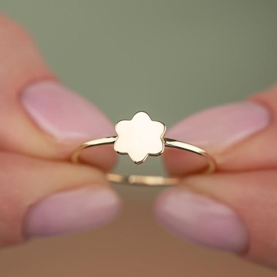 Çiçek Figürlü 14 Ayar Altın Şans Yüzüğü - Thumbnail