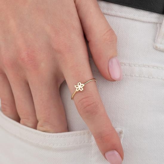 Elef Takı - Çiçek Figürlü 14 Ayar Altın Şans Yüzüğü