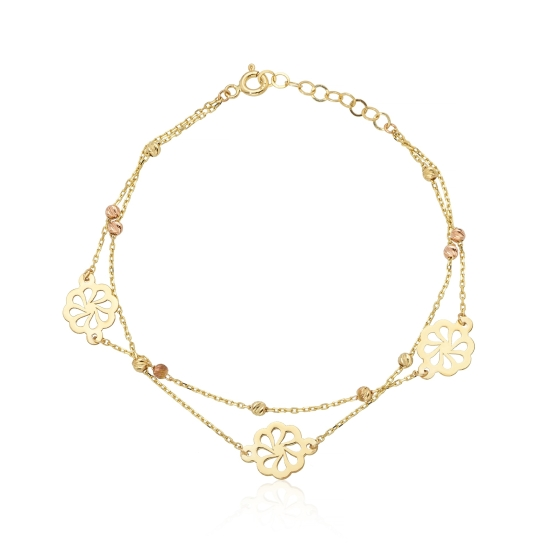 Elef Takı - Çiçek Figürlü Dorika Toplu 14 Ayar Altın Bileklik (1)