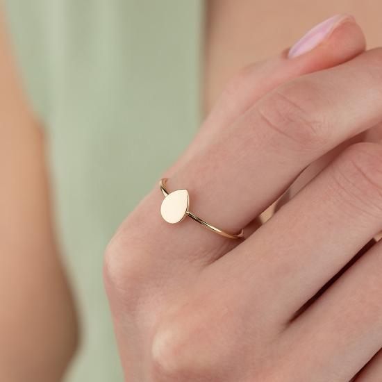 Elef Takı - Damla Figürlü 14 Ayar Altın Şans Yüzüğü