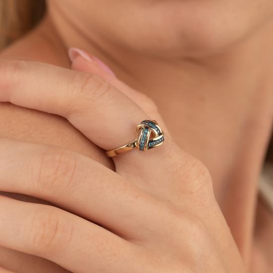 Elef Takı - Düğüm Figürlü 14 Ayar Altın Renkli Taşlı Yüzük