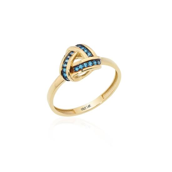 Elef Takı - Düğüm Figürlü 14 Ayar Altın Renkli Taşlı Yüzük (1)