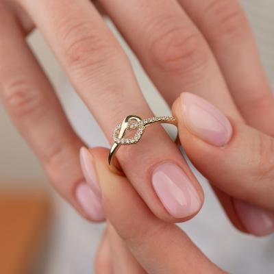 Elef Takı - Düğüm Kalp Figürlü 14 Ayar Altın Yüzük