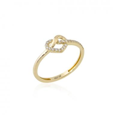 Elef Takı - Düğüm Kalp Figürlü 14 Ayar Altın Yüzük (1)