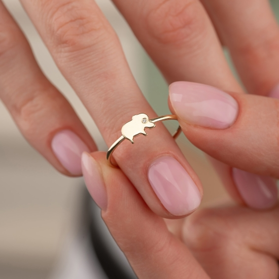 Elef Takı - Fil Figürlü Taşlı 14 Ayar Altın Şans Yüzüğü