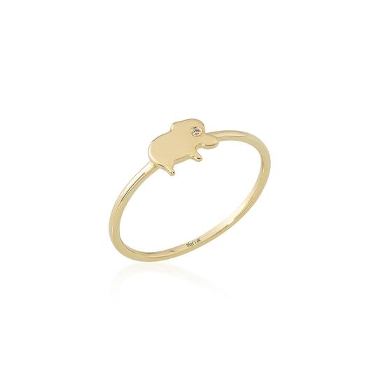 Elef Takı - Fil Figürlü Taşlı 14 Ayar Altın Şans Yüzüğü (1)