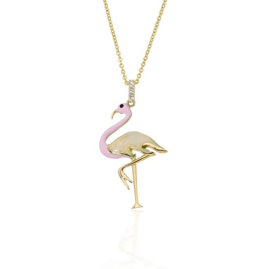 Elef Takı - Flamingo Figürlü 14 Ayar Altın Kolye (1)
