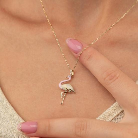 Elef Takı - Flamingo Figürlü 14 Ayar Altın Kolye