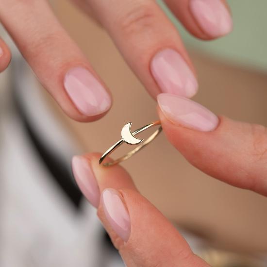 Elef Takı - Hilal Figürlü 14 Ayar Altın Şans Yüzüğü