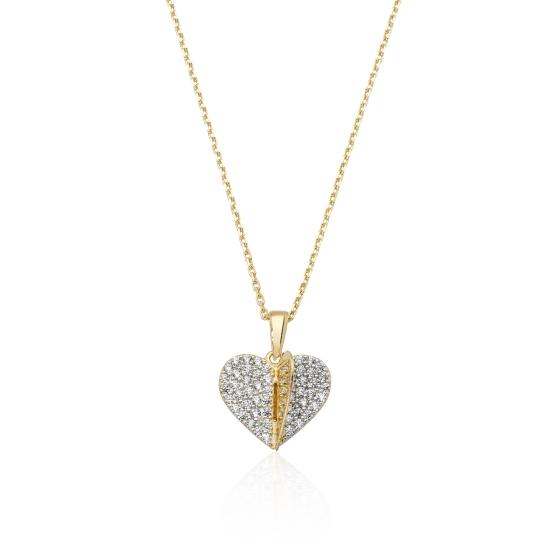 Elef Takı - Kalp Figürlü Taşlı 14 Ayar Altın Kolye (1)