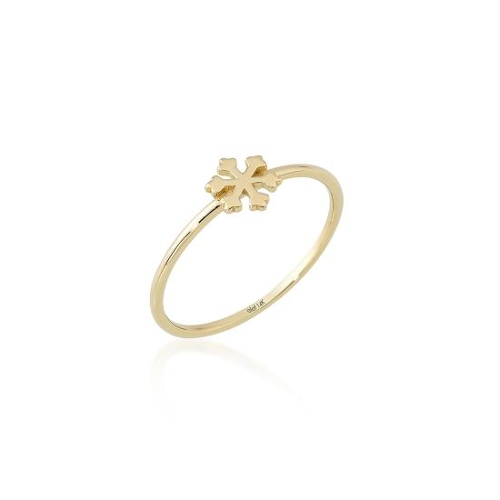 Elef Takı - Kar Tanesi Figürlü 14 Ayar Altın Şans Yüzüğü (1)