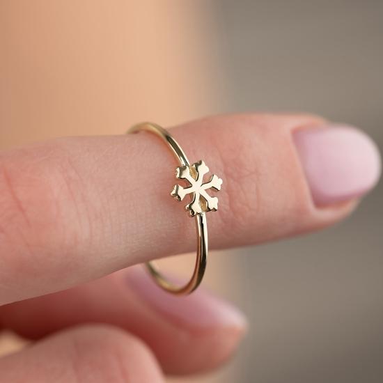 Kar Tanesi Figürlü 14 Ayar Altın Şans Yüzüğü - Thumbnail