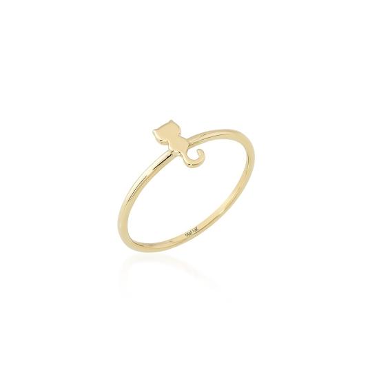 Elef Takı - Kedi Figürlü Taşlı 14 Ayar Altın Şans Yüzüğü (1)