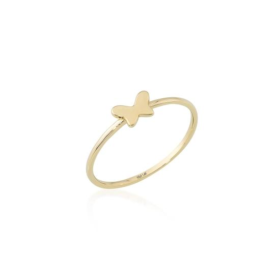 Elef Takı - Kelebek Figürlü 14 Ayar Altın Şans Yüzüğü (1)