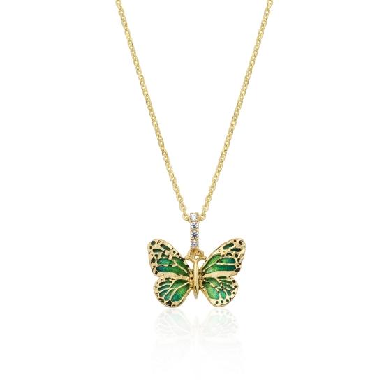 Elef Takı - Kelebek Figürlü Mineli ve Taşlı 14 Ayar Altın Kolye (1)