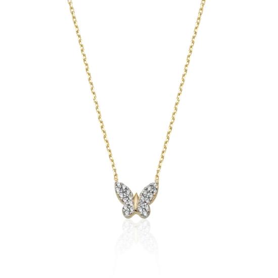 Elef Takı - Kelebek Figürlü Taşlı 14 Ayar Altın Kolye (1)