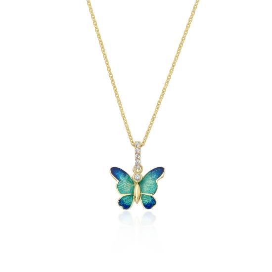 Elef Takı - Kelebek Figürlü Taşlı 14 Ayar Altın Tarz Kolye (1)