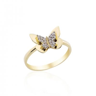 Elef Takı - Kelebek Figürlü Taşlı 14 Ayar Altın Yüzük (1)