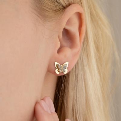 Elef Takı - Kelebek Formunda Taşlı 14 Ayar Altın Çift Küpe