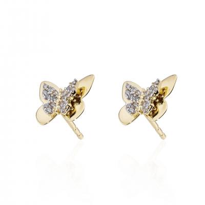 Elef Takı - Kelebek Formunda Taşlı 14 Ayar Altın Çift Küpe (1)