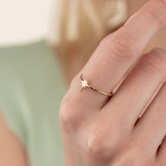 Elef Takı - Kutup Yıldızı Figürlü 14 Ayar Altın Şans Yüzüğü