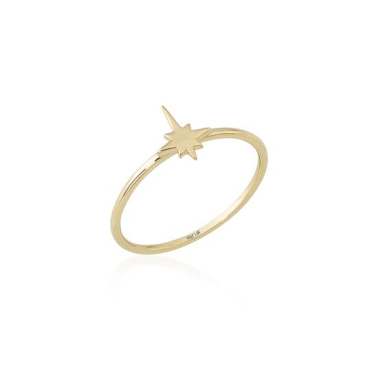 Elef Takı - Kutup Yıldızı Figürlü 14 Ayar Altın Şans Yüzüğü (1)