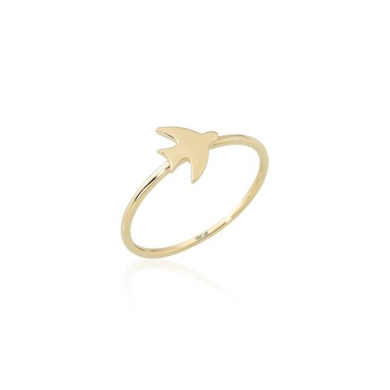 Elef Takı - Martı Figürlü 14 Ayar Altın Şans Yüzüğü (1)