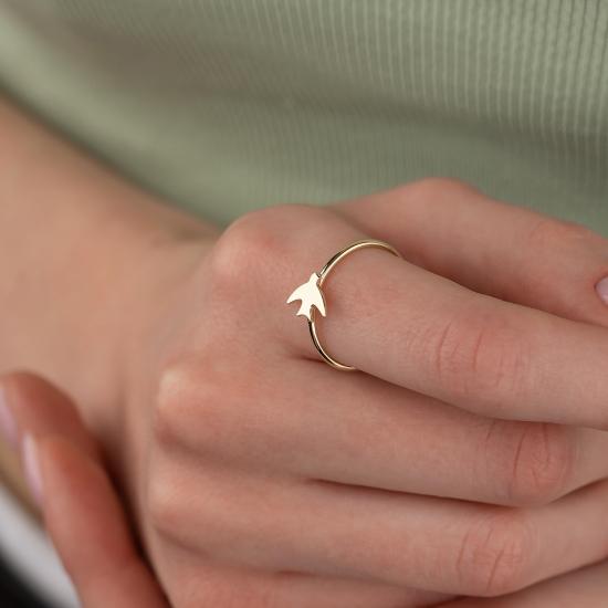 Elef Takı - Martı Figürlü 14 Ayar Altın Şans Yüzüğü