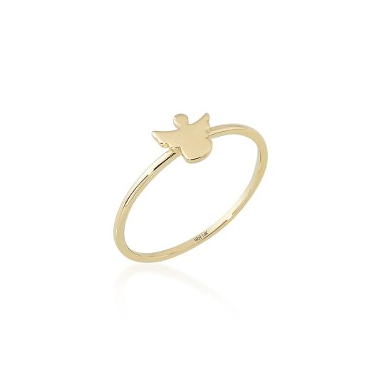 Elef Takı - Melek Figürlü 14 Ayar Altın Şans Yüzüğü (1)