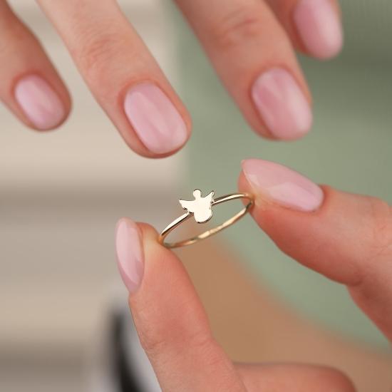 Elef Takı - Melek Figürlü 14 Ayar Altın Şans Yüzüğü