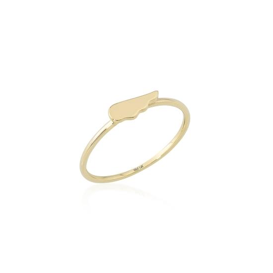 Elef Takı - Melek Kanadı Figürlü 14 Ayar Altın Şans Yüzüğü (1)