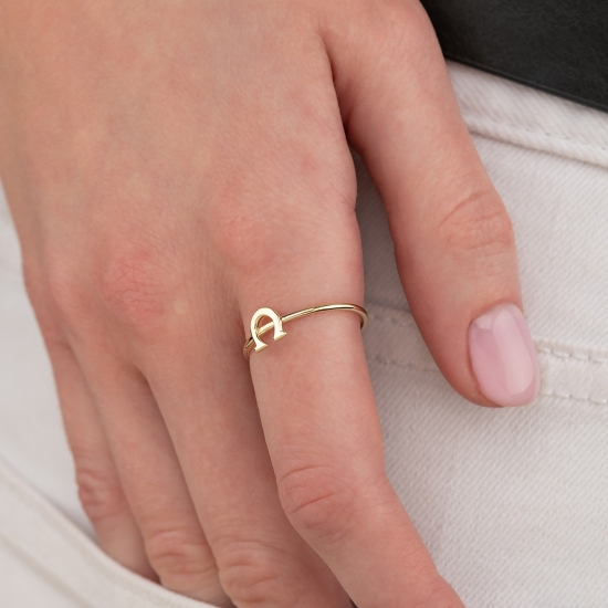 Elef Takı - Nal Figürlü 14 Ayar Altın Şans Yüzüğü