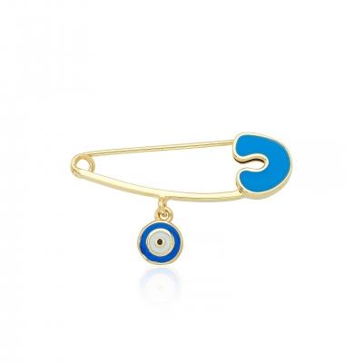 Elef Takı - Nazar Boncuklu Mavi Başlıklı Bebek 14 Ayar Altın Çengelli İğne
