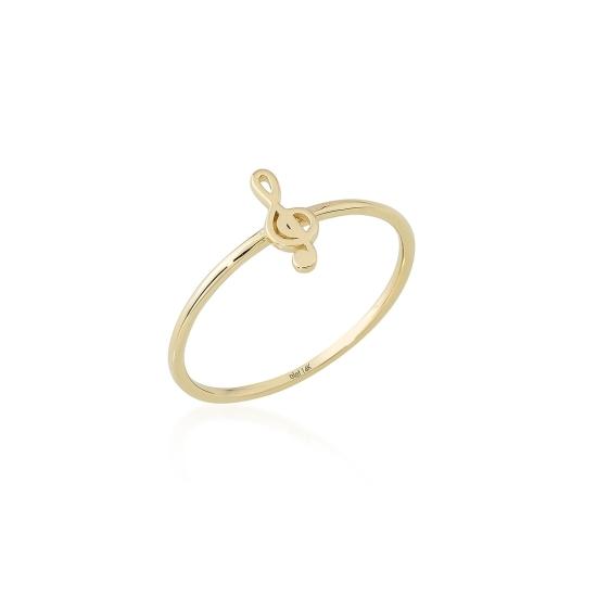 Elef Takı - Sol Anahtarı Figürlü 14 Ayar Altın Şans Yüzüğü (1)