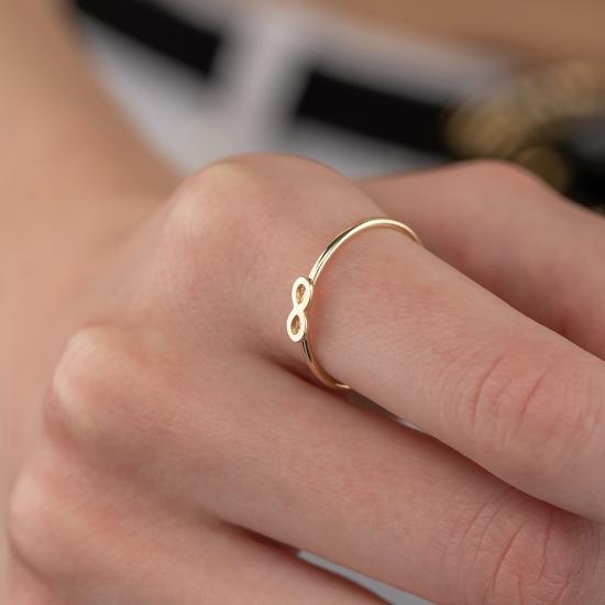 Elef Takı - Sonsuzluk Figürlü 14 Ayar Altın Şans Yüzüğü
