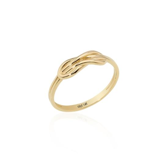 Elef Takı - Sonsuzluk ve Düğüm Figürlü 14 Ayar Altın Yüzük (1)