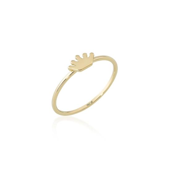 Elef Takı - Taç Figürlü 14 Ayar Altın Şans Yüzüğü (1)