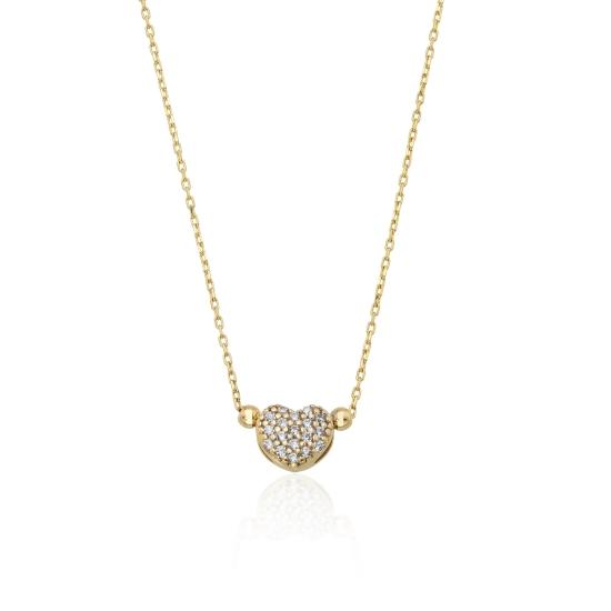 Elef Takı - Taşlı Kalp 14 Ayar Altın İnce Zincir Kolye (1)