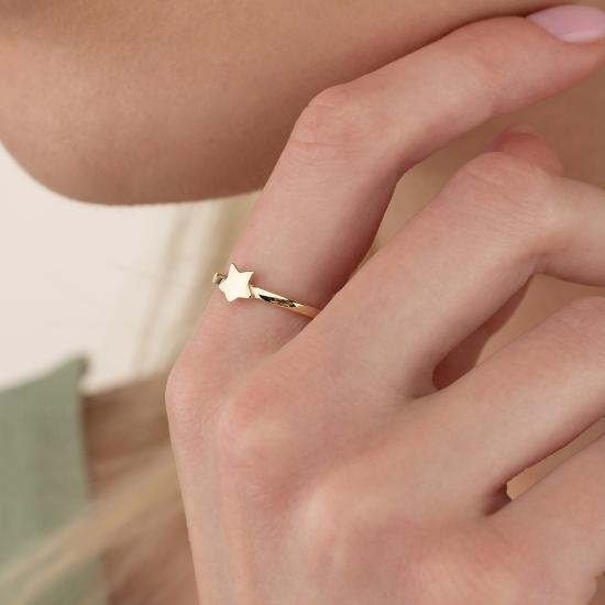 Elef Takı - Yıldız Figürlü 14 Ayar Altın Şans Yüzüğü