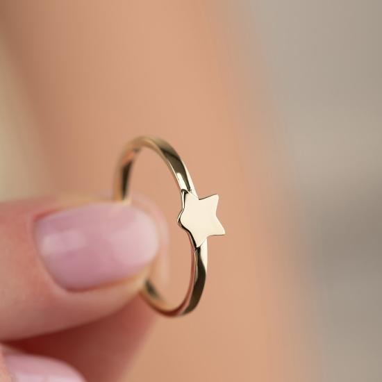 Yıldız Figürlü 14 Ayar Altın Şans Yüzüğü - Thumbnail