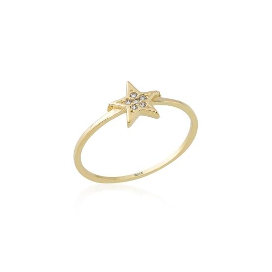 Elef Takı - Yıldız Figürlü Taşlı 14 Ayar Altın Tarz Yüzük (1)