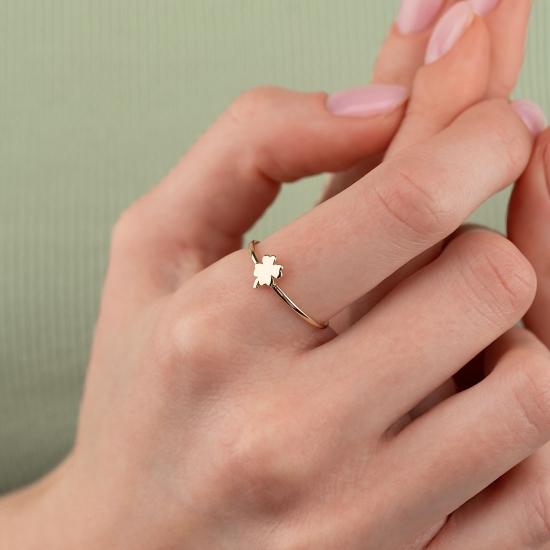 Elef Takı - Yonca Figürlü 14 Ayar Altın Şans Yüzüğü