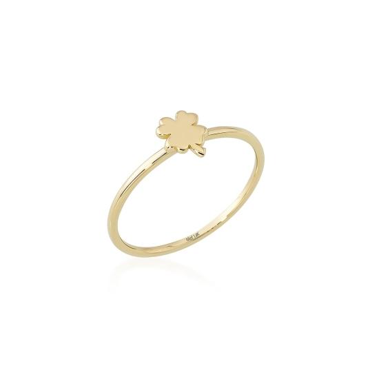 Elef Takı - Yonca Figürlü 14 Ayar Altın Şans Yüzüğü (1)