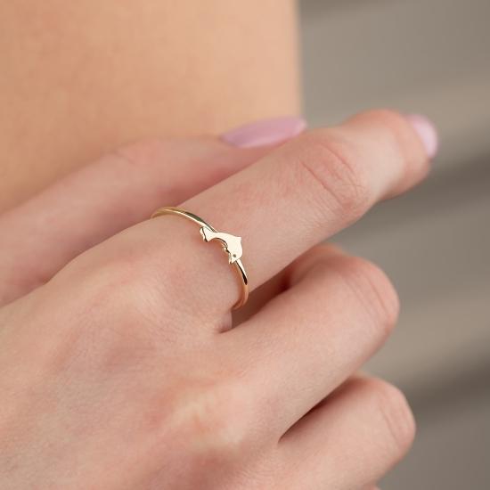 Elef Takı - Yunus Balığı Figürlü 14 Ayar Altın Şans Yüzüğü