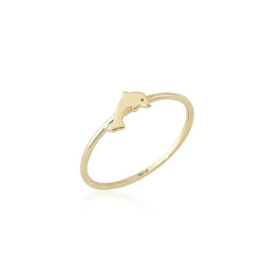Elef Takı - Yunus Balığı Figürlü 14 Ayar Altın Şans Yüzüğü (1)